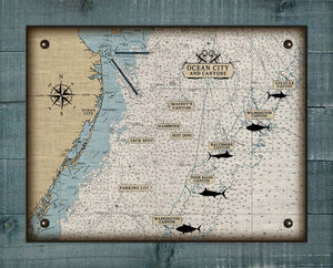 Maryland Ocean City And Canyons Nautical Chart - On 100% Natural Linen