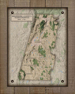 Berkshire County Massachusettes Nautical Chart - On 100% Natural Linen
