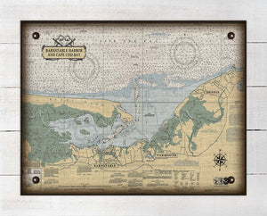 Barnstable Harbor Massachusettes Nautical Chart On 100% Natural Linen