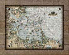 Load image into Gallery viewer, Boston Harbor Massachusettes Nautical Chart (Horizontal) - On 100% Natural Linen