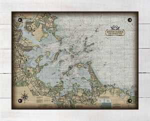Boston Harbor Massachusettes Nautical Chart (Horizontal) - On 100% Natural Linen