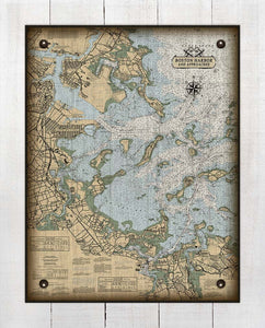 Copy of Boston Harbor Massachusettes Nautical Chart (Vertical) - On 100% Natural Linen