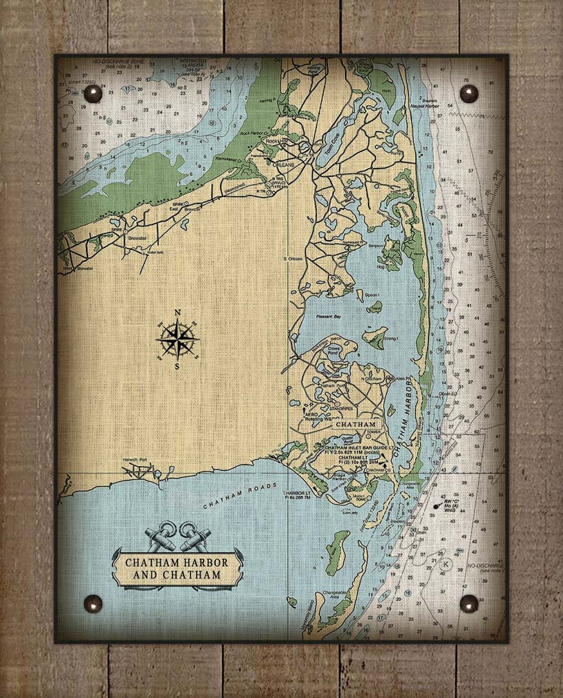 Chatham Cape Cod  Nautical Chart On 100% Natural Linen