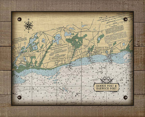 Dennis & Harwich Cape Cod  Nautical Chart On 100% Natural Linen