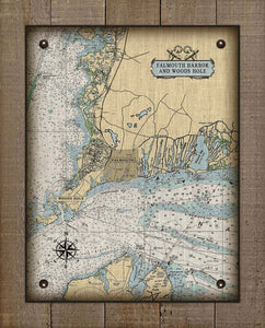 Falmouth & Woods Hole Ma. Nautical Chart On 100% Natural Linen