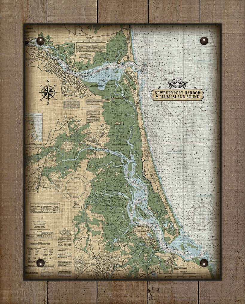 Newburyport Harbor & Plum Island Massachusetts Nautical Chart On 100% Natural Linen