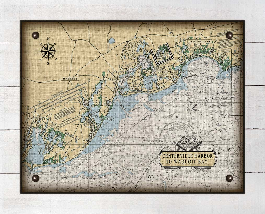 Centerville Harbor to Waquoit Bay Massachusetts Nautical Chart On 100% Natural Linen