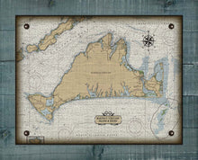Load image into Gallery viewer, Martha's Vinyard Massachusetts Nautical Chart On 100% Natural Linen