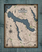 Load image into Gallery viewer, Lake Charlevoix Michigan Map - On 100% Natural Linen