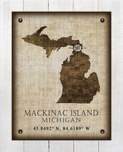 Load image into Gallery viewer, Mackinac Island Michigan Vintage Design - On 100% Natural Linen
