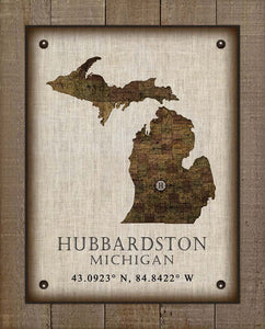 Hubbardston Michigan Vintage Design - On 100% Natural Linen
