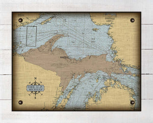 Upper Peninsula Michigan Nautical Chart - On 100% Natural Linen