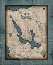 Load image into Gallery viewer, Lake Walloon Michigan Map - On 100% Natural Linen