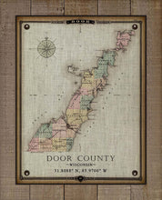 Load image into Gallery viewer, Vintage Door County Wisconsin Map - On 100% Natural Linen