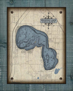 Higgins Lake Michigan Map - On 100% Natural Linen