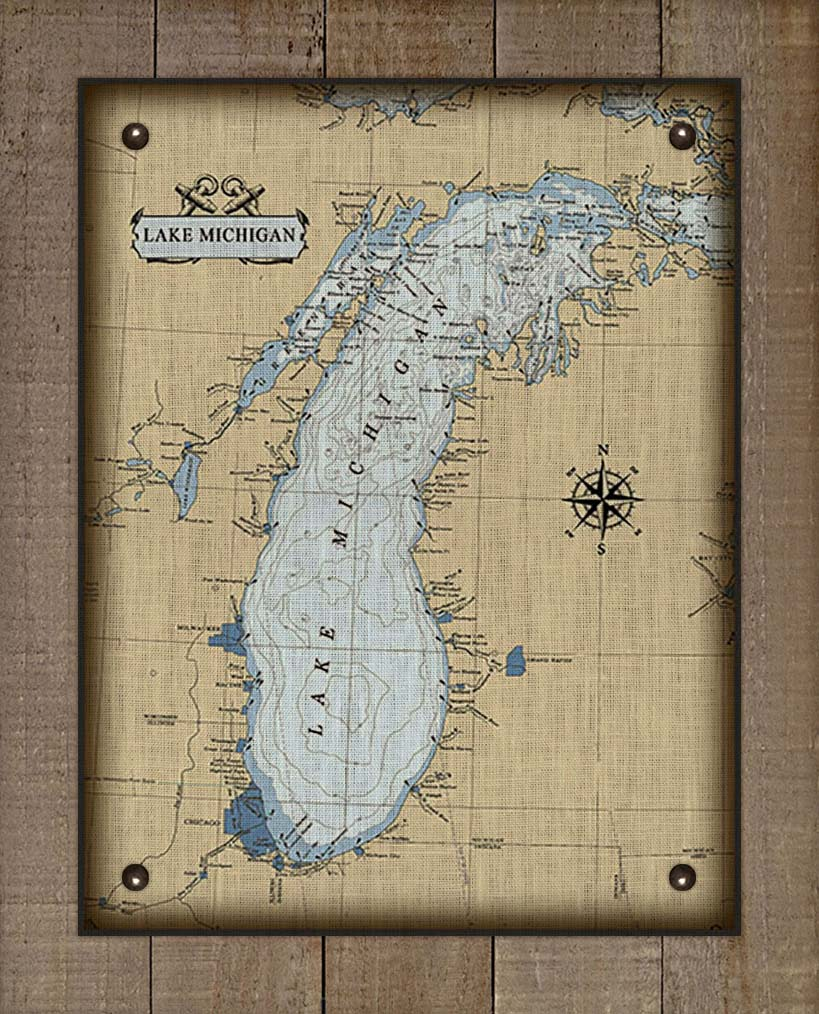 Lake Michigan Nautical Chart - On 100% Natural Linen
