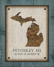 Load image into Gallery viewer, Petoskey Michigan Vintage Design - On 100% Natural Linen