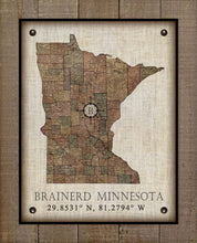 Load image into Gallery viewer, Brainerd Minnesota Vintage Design - On 100% Natural Linen