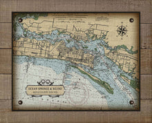 Load image into Gallery viewer, Ocean Springs & Biloxi Mississippi Nautical Chart On 100% Natural Linen