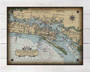Ocean Springs & Biloxi Mississippi Nautical Chart On 100% Natural Linen