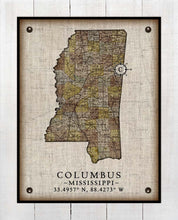 Load image into Gallery viewer, Columbus Mississippi Vintage Design - On 100% Natural Linen