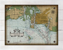 Load image into Gallery viewer, Pascagoula Mississippi Nautical Chart On 100% Natural Linen