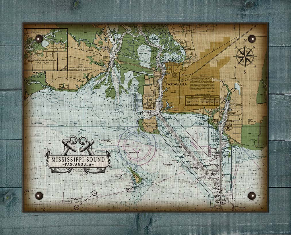 Pascagoula Mississippi Nautical Chart On 100% Natural Linen