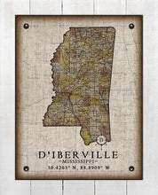 Load image into Gallery viewer, D'iberville Mississippi Vintage Design - On 100% Natural Linen