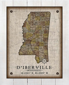 D'iberville Mississippi Vintage Design - On 100% Natural Linen