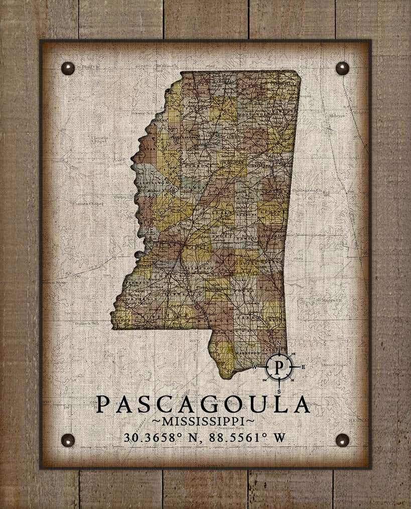 Pascagoula Mississippi Vintage Design - On 100% Natural Linen