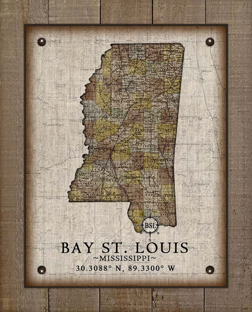 Bay St Louis Mississippi Vintage Design - On 100% Natural Linen
