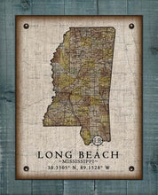 Load image into Gallery viewer, Long Beach Mississippi Vintage Design - On 100% Natural Linen