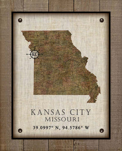 Kansas City Missouri Vintage Design - On 100% Natural Linen
