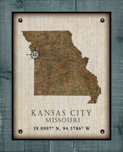 Load image into Gallery viewer, Kansas City Missouri Vintage Design - On 100% Natural Linen