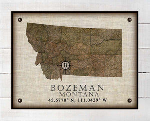 Bozeman Montana Vintage Design - On 100% Natural Linen
