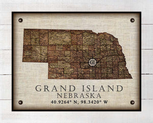 Grand Island Nebraska Vintage Design - On 100% Natural Linen