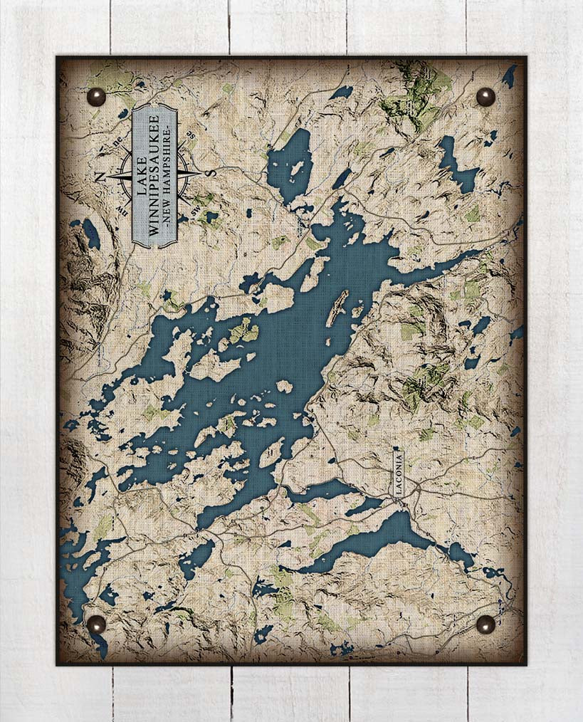 Lake Winnipesaukee New Hampshire Map - On 100% Natural Linen