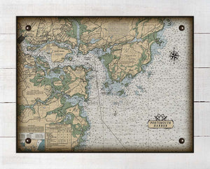 Portsmouth New Hampshire Nautical Chart On 100% Natural Linen