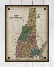 Load image into Gallery viewer, 1800s New Hampshire Map - On 100% Natural Linen