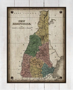 1800s New Hampshire Map - On 100% Natural Linen