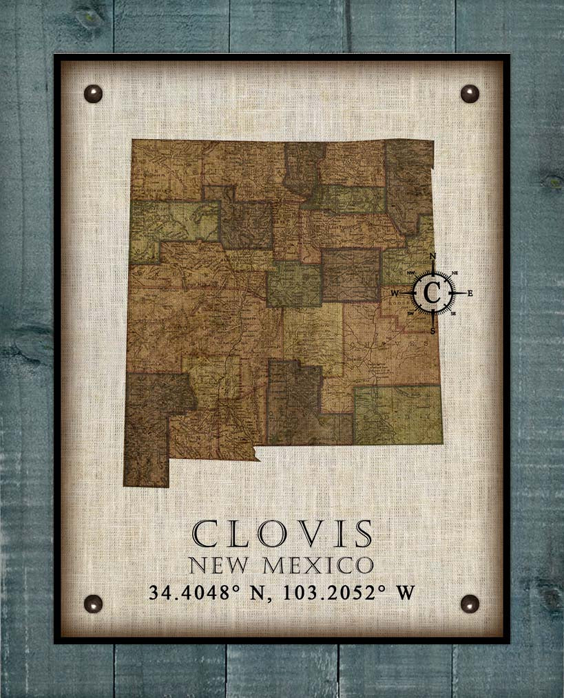 Clovis New Mexico Vintage Design - On 100% Natural Linen