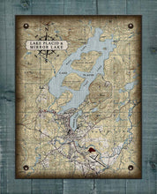 Load image into Gallery viewer, Lake Placid & Mirror Lake Map - On 100% Natural Linen