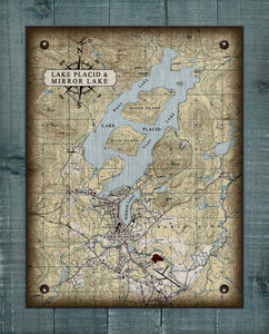 Lake Placid & Mirror Lake Map - On 100% Natural Linen