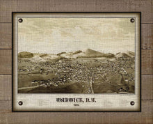 Load image into Gallery viewer, 1887 Warwick New York Birds Eye View Map - On 100% Natural Linen