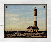 Load image into Gallery viewer, Fire Island Lighthouse (horizontal) - On 100% Linen