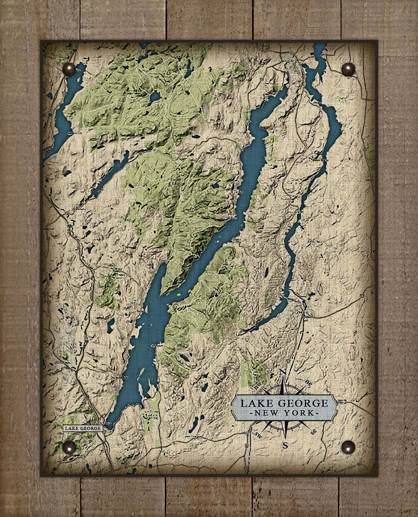 Lake George New York Map - On 100% Natural Linen