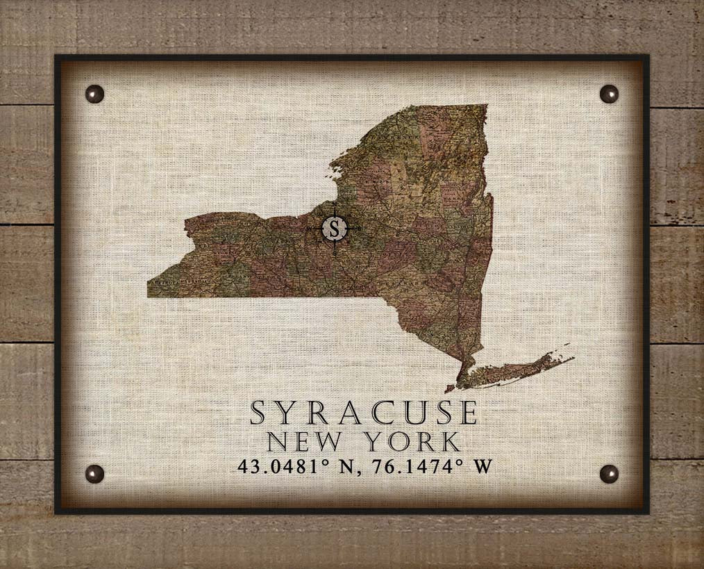 Syracuse New York Vintage Design - On 100% Natural Linen