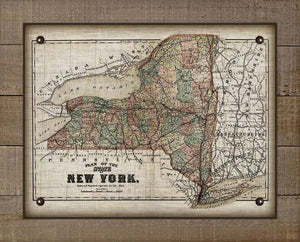 1800s New York State Map - On 100% Natural Linen