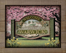 Load image into Gallery viewer, Warwick New York Welcome Sign - On 100% Linen