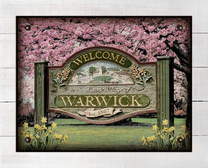 Warwick New York Welcome Sign - On 100% Linen
